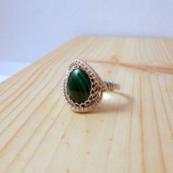Malachite Silver Ring, Sterling Silver Wire Wrapped Adjustable Ring