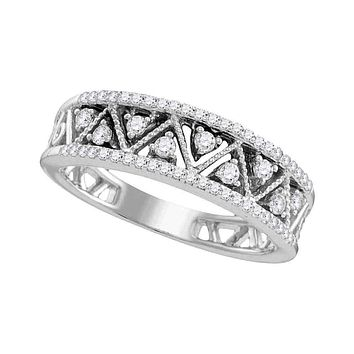 10kt White Gold Women's Round Diamond Geometric Band Ring 7/8 Cttw - FREE Shipping (US/CAN)