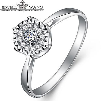 JEWELLWANG Diamond Rings For Women 1 Carat Effect 18K White Gold Prong Setting Engagement Love Certified Light Luxury Gift Girls