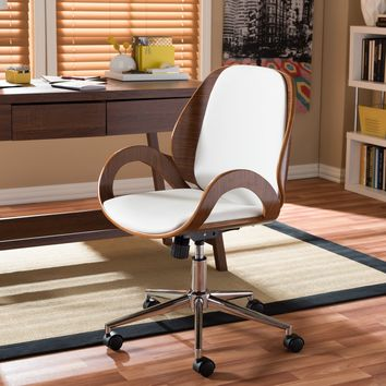 Baxton Studio Watson Modern and Contemporary White and Walnut Office Chair Set of 1