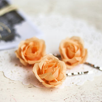 Orange roses, Hair roses, Wedding flower pins, Bobby pins bride, Bridal hair roses, Roses hair, Silk roses, Fabric flowers, Headdress roses.