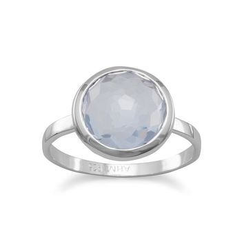 Large Freeform Faceted Blue Quartz Hydro Round Stackable Ring in Sterling Silver