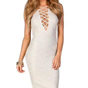 Kirsten Gold Flecked White Plunging Lattice Cut Out Bodycon Midi Dress