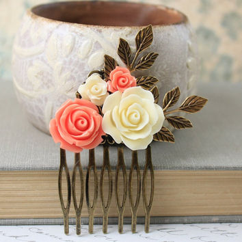 Flower Hair Comb Coral Rose Comb Flowers for Hair Leaf Rustic Branch Foliage Wedding Hair Accessories Cream Rose Hair Piece Bridal Hair Comb