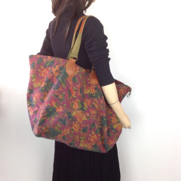 80s GAP Weekender Bag  Vintage Hippie Boho Floral Luggage Canvas Bag Wine Floral Print Original Authentic Gap Overnight Carryon Duffle Bag