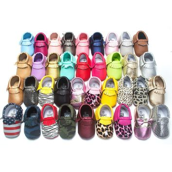 Free Shipping 29-Colors Fashion Tassel Leather Baby Shoes Moccasins Boy Toddler Shoes
