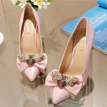 GUCCI Fashion New Women Pearl Diamond Bee Bow 9 CM High Quality High Heels Shoes Pink