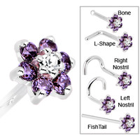 Solid 14KT White Gold Amethyst and Clear Cubic Zirconia Flower Nose Ring   Body Candy Body Jewelry