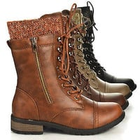 Mango31 Round Toe Military Lace Up Knitted Ankle Cuff Low Heel Combat Boots