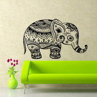 Housewares Wall Vinyl Decals Animal Vintage Elephant Patterns Art Indian Design Murals Interior Decor Sticker Removable Room Window SS27