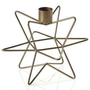 "Gold Wire Geometric Star Holiday Candle Holder - 4.5"" Tall x 5.75"" Wide"