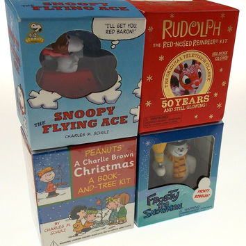 Peanuts Charlie Brown Christmas Tree Lot of 4 Snoopy Flying Ace Frosty Rudolph
