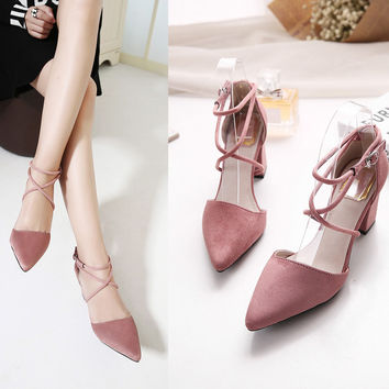 womens pumps Ladies shoes high square heels buckle strap flock shoes