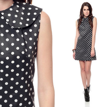 60s Mod Dress Black White POLKA DOT PRINT Peter Pan Collar 1960s Shift Go Go Vintage Sleeveless Sheath Preppy Gogo Sixties Dress Large
