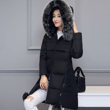 Women Winter Fashion Long Sleeve Padded Down Coat with Big Fur Hat [9378740356]