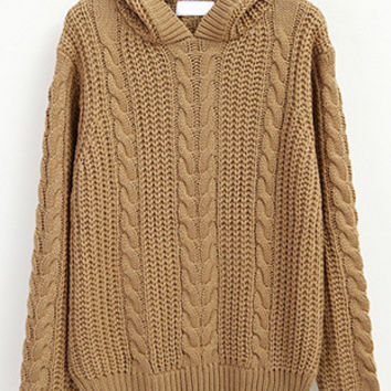 Khaki Hooded Cable Ribbed Knit Sweater