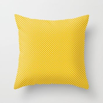 Yellow Polka Dot Throw Pillow by Kendall Lynnette