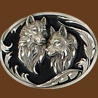 Wolf Heads Diamond cut Belt Buckle