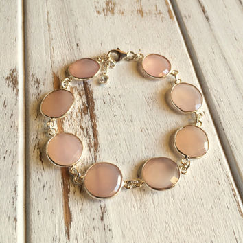 Beautiful Genuine Sterling Silver Wrapped Rose Quartz Bracelet