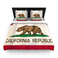"Bruce Stanfield ""California Flag Wood"" Brown Woven Duvet Cover"