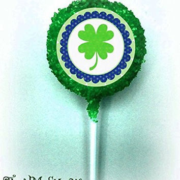 ST. PATRICK'S DAY Leprechauns Irish Four Leaf Clover Shamrocks White Chocolate Covered Green Sprinkles Oreo Cookie Pops