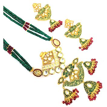 Green n ruby crystal bead long chain necklace with kundan work half jhumka hanging pendant and dangling long earring set