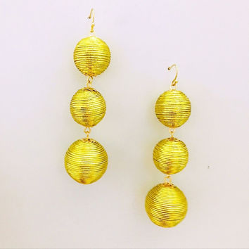 Triple Bon Bon Thread Wrapped Ball Drop Earrings