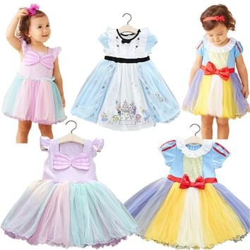 Kids Snow White Cosplay Girl Tutu Dress Queen Bow Princess Clothing Halloween Party Child Cartoon Costume Cute Vestidos Infantil
