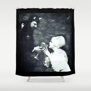 La Vey & Jane Mansfield Shower Curtain by Kathead Tarot/David Rivera