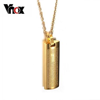 Vnox Gold-color Necklace & Pendant Spanish Bible 316l Stainless Steel Cross Religion Jewelry