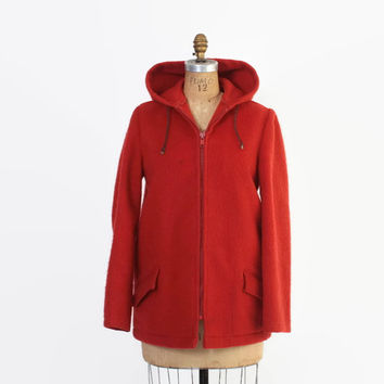 Vintage 60s Duffle Coat / 1960s Women's Bright Red Thick Wool Hooded Dutch Parka S - M