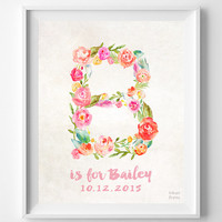 Custom Name, Personalized, Print, Bailey, Nursery Art, Baby Shower, Baby Room, Brittany, Beth, Brooke, Becky, Blair, Gift, B, Girl