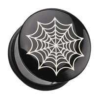 Spider Web Single Flared Ear Gauge Plug