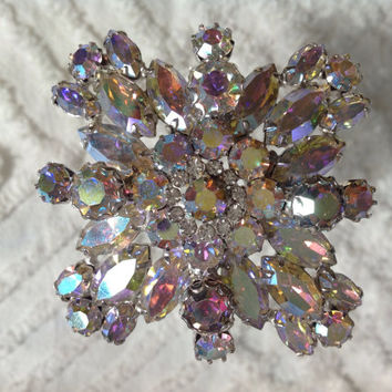 Phenomenal Weiss Aurora Borealis Rhinestone Brooch Bridal Wedding Hairpiece Jewelry