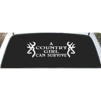 A Country Girl Can Survive Browning Buck Rear Window Decal Sticker 9 X 24