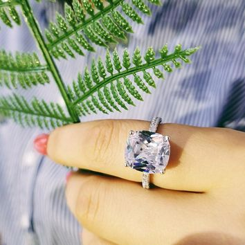 Solid Fashion Cushion Cut 925 sterling Silver Ring Finger and CZ Stone for Women Jewelry Engagement Ring LR1953S