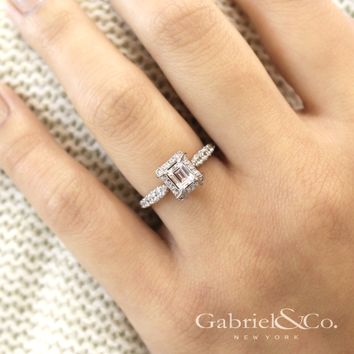 Gabriel 14K White Gold Pre-Set Emerald Cut Diamond Halo Engagement Ring