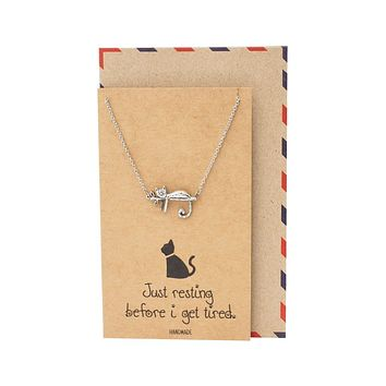 Hattie Resting Cat Pendant Necklace, Gifts for Cat Lovers