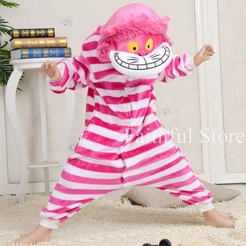 Cool Anime Cheshire Cat Animal Children Onesuit Cosplay Pajamas Rompers All In One Carnival Party Costumes Kids JumpsuitsAT_93_12