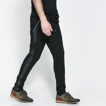 TROUSERS WITH FAUX LEATHER STRIPES - Trousers - Man | ZARA United States