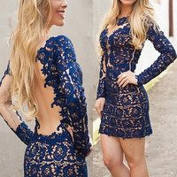 Resplendent Women Party Dark Blue Hollow Out Sexy Lace Backless Mini Dress = 1695684164