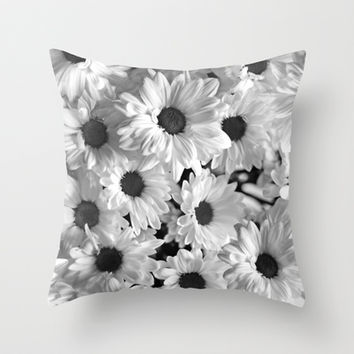 Daisy Chaos in Black and White Throw Pillow by micklyn | Society6
