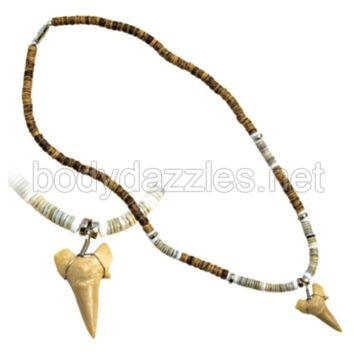 Real Shark Tooth Drop Pendant and White and Brown Beads On Cord 18 in. Make a Great Gift