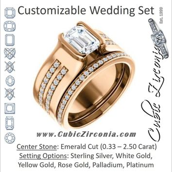 CZ Wedding Set, featuring The Jennifer engagement ring (Bezel-set Emerald Cut with Thick Band featuring Double-Row Pavé Accents)