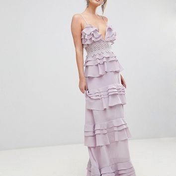 True Decadence Premium Frill Layered Cami Maxi Dress With Lace Insert at asos.com