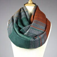 Wool look infinity scarf, chunky winter scarf, striped , plaid scarf, unisex scarf