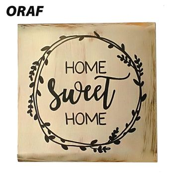 Farmhouse Style Sign Home Sweet Home Shelf Vintage Wood Plaques Wooden Wall Decorative Creative Rustic Wood Sign Drop Shipping