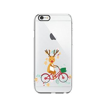 Cute Reindeer Riding Bike Merry Christmas Transparent Silicone Plastic Phone Case for iphone 6PLUS _ LOKIshop (iphone 6 plus)