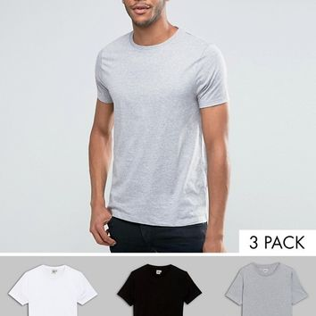 ASOS 3 Pack T-Shirt In White/Black/Grey Marl With Crew Neck SAVE at asos.com