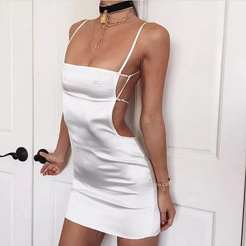 Solid Color Fashion Strap Sleeveless Hollow Backless Tops Mini Dress